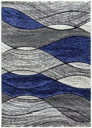 IMPULSE WAVES RUG - GREY / NAVY