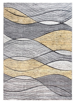 Impulse Waves Rug – Grey / Yellow