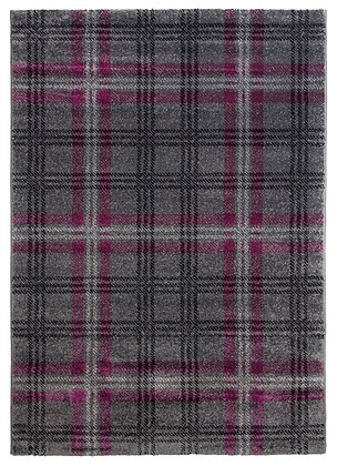 Glendale Tartan Rug-Grey/Purple