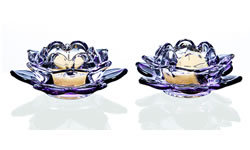 Pair - Two pieces Clear Cup Ivory Tealights included
