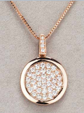 Rose Gold Diamante Round Pendant