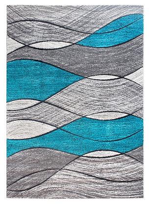 Impulse Waves Rug – Grey / Teal