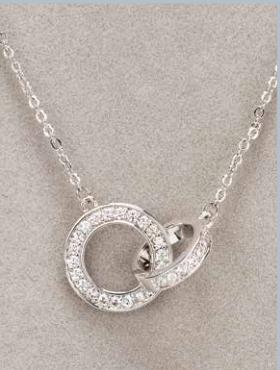 Silver Interlocking Diamante Necklace