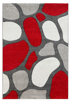 Pebbles Rug-Grey/Red