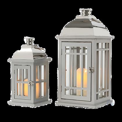 Wooden lanterns grey/chrome med/sml