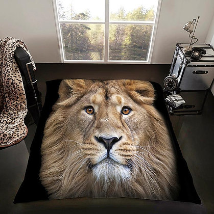 Lion Print Black Background Blanket