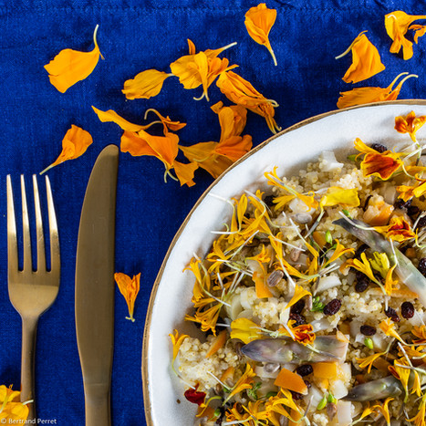 Photographie culinaire - Salade de millet et d'asperges cuites à la vapeur - Félicie Toczé