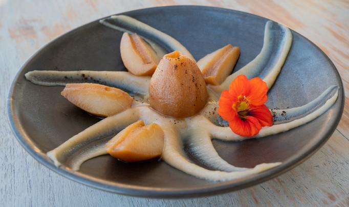 Photographie culinaire - poires pochées