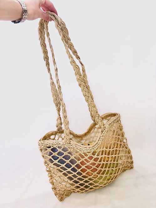 braided half transparent bag