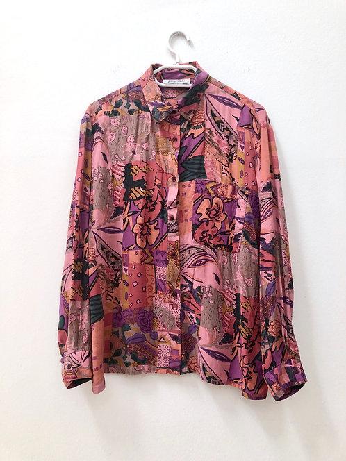 SOLD patterned pink shirt vintage style