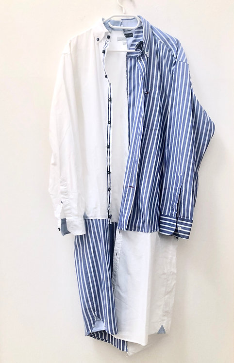 long blue and white striped shirt