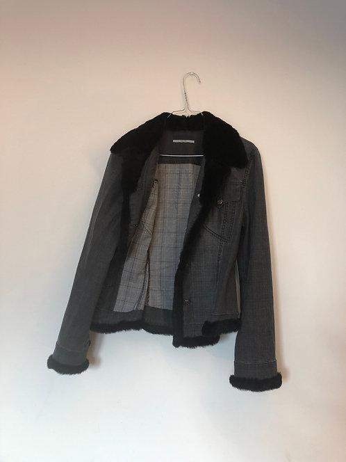 grey fur detail jacket