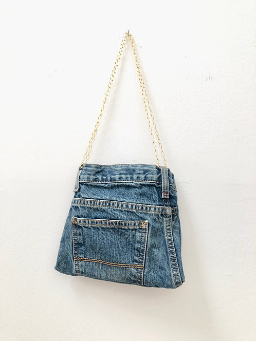 small jeans bag with gold chains