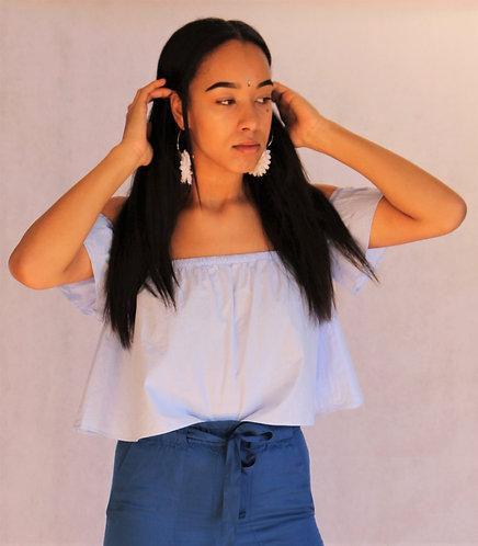 light blue shoulder top