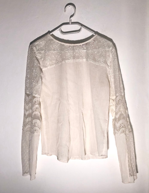 white shoulder lace blouse