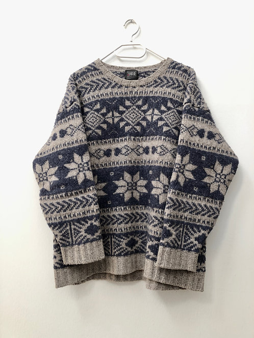 SOLD winter wool pullover blue and grey