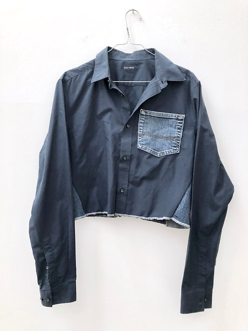 SOLD blue cropped shirt with jeans details