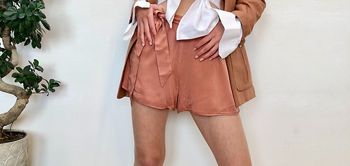 brown shorts with belt