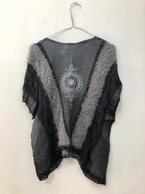 handmade poncho black and grey