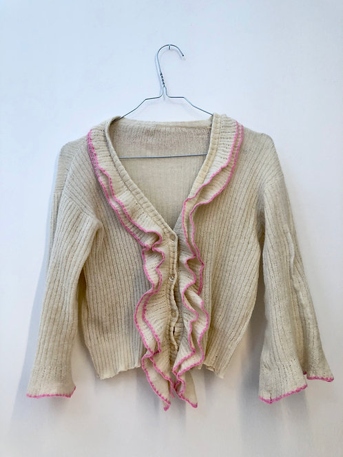 SOLD creme frilly cardigan