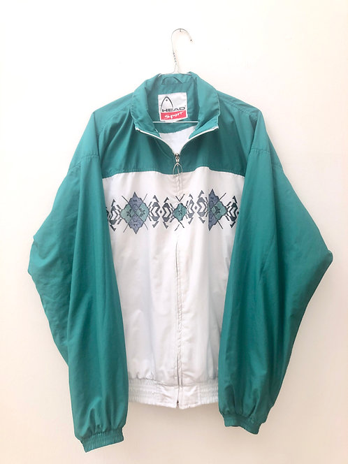 vintage head jacket white and green