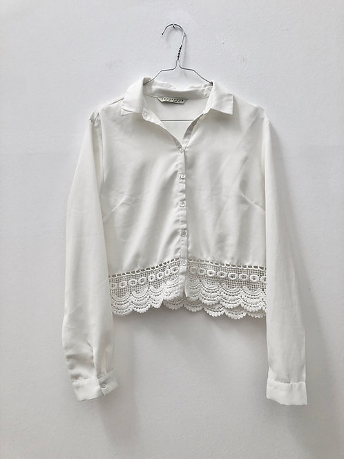 cropped white lace shirt