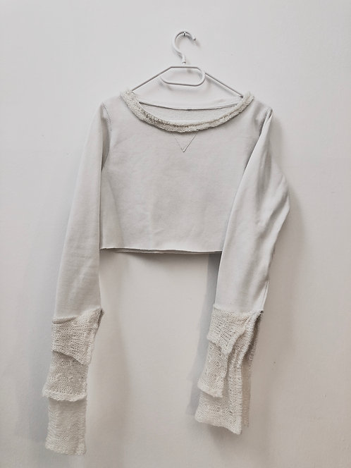 upcycled crop pullover