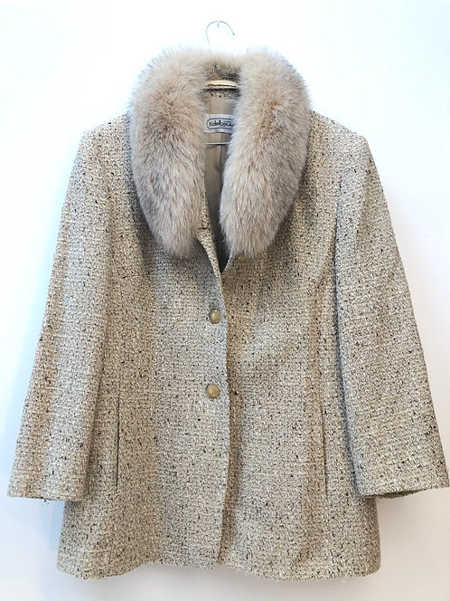 beige fur suit