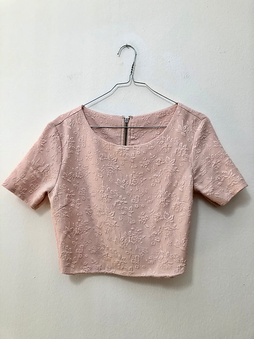 up-cycled pink zipper top