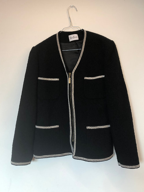 SOLD black cardigan white details