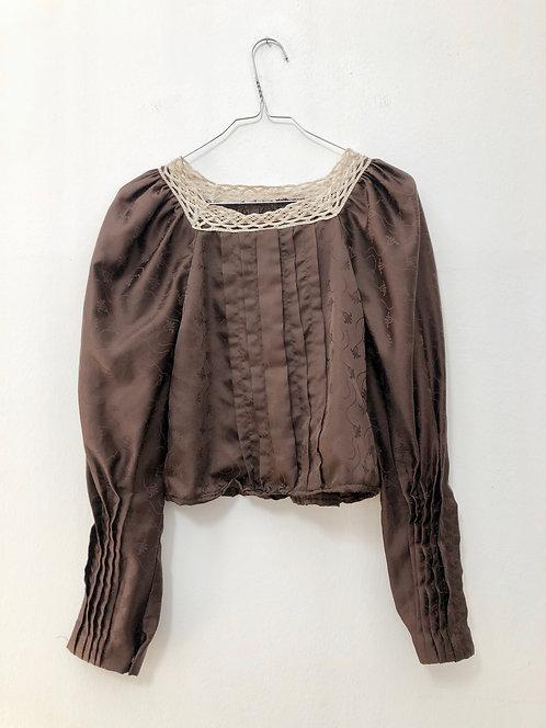 up-cycled brown vintage bluse