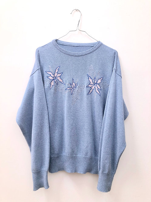 SOLD bright blue edelweiss pullover