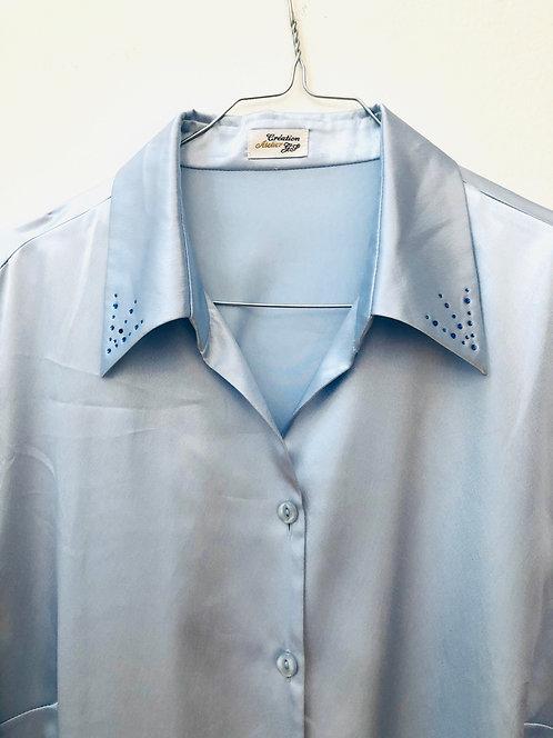 shiny blue shirt