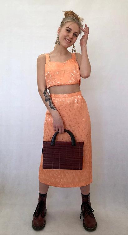 orange silk look outfit
