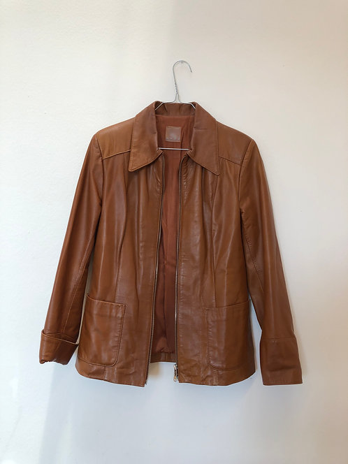 brown simple leather jacket