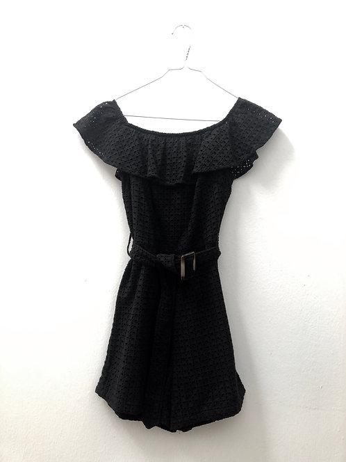 black short jumpsuit with belt