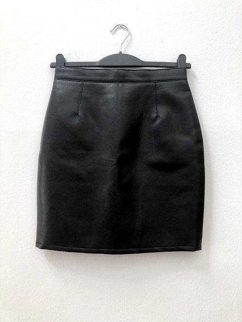black vegan leather skirt