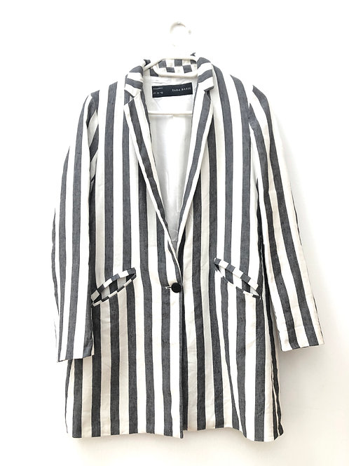 blue striped long blazer