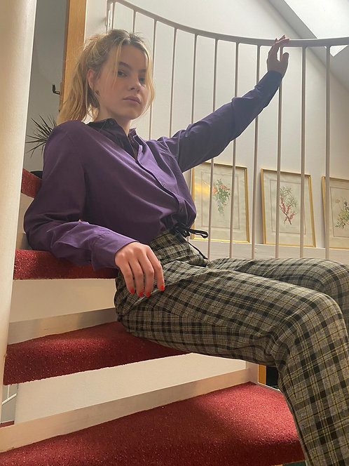 checkered trousers grey and yellow