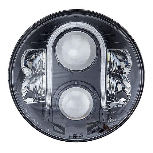 "7"" LED Headlight Black Reflector - Pair (Right Hand Drive)"