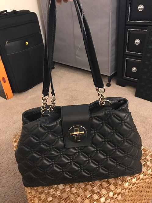 Kate Spade Black Quilted Leather Satchel w/Gold Chains