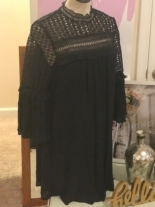 Flowy High Neck Black Dress w/Lace Detailing