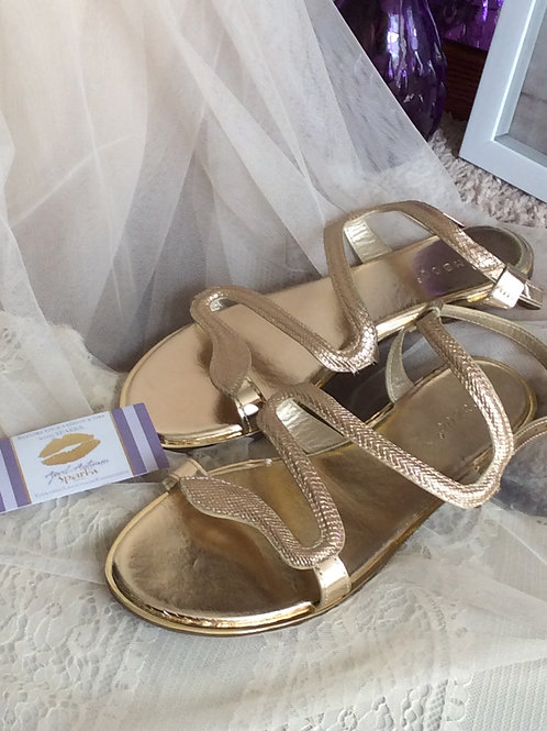 Gold Snake Designed Sandals Size 9