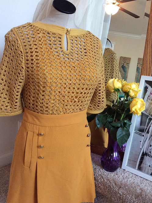 Mustard Yellow Skirt w/Gold Buttons and Pockets