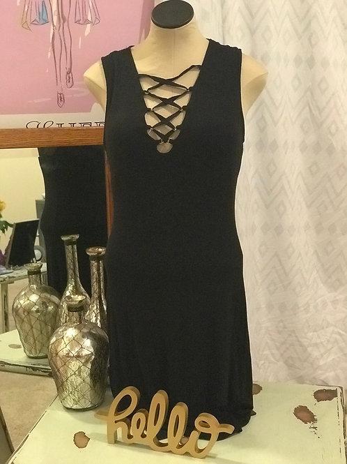 Black Dress w/Tie Embellishment