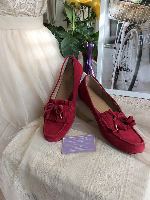 Red Suede Land's End Loafers Size 9