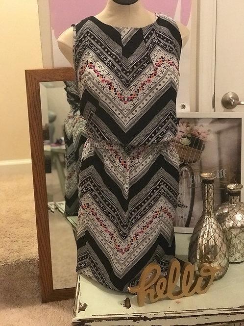 Black Plus Size Multicolor Sundress w/Zipper Pockets