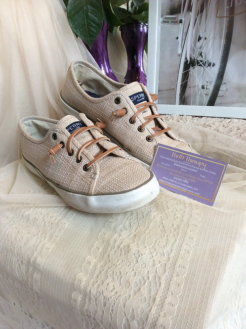 Sand Sperry Canvas Shoes
