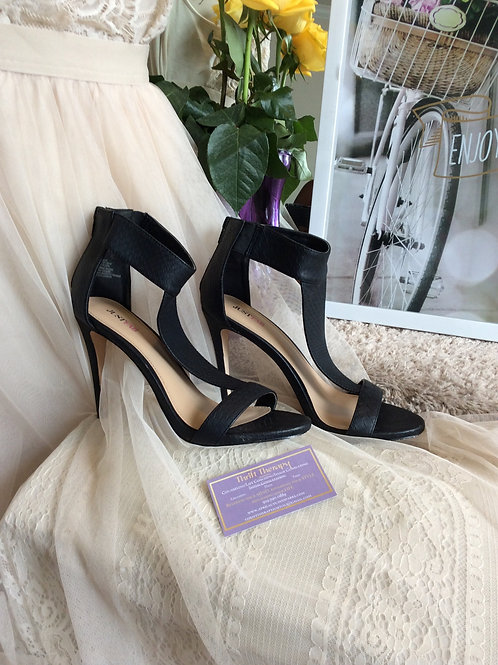 Black Strappy Heeled Sandals Size 9