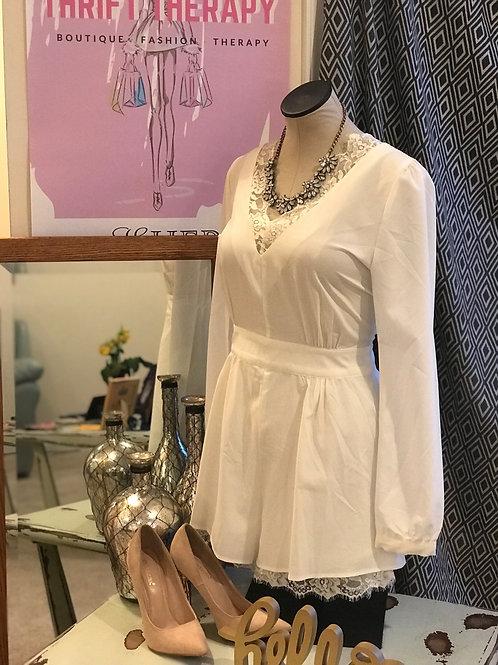 White Short Jumper w/Lace Embellishment